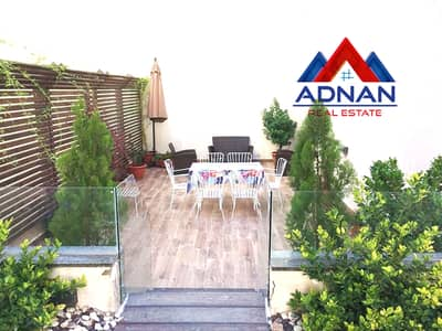 4 Bedroom Apartment for Rent in 5th Circle, Amman - Amazing Duplex Furnished Apartment 4 bedroom with Garden + Privacy Parking For Rent in 5th Circle ( Rent Just Yearly )